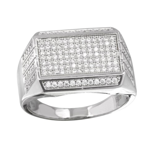 Wholesale Men's Sterling Silver 925 Rectangular Ring with CZ - GMR00220