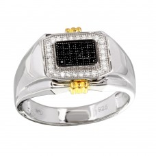Men's Sterling Silver Two-Toned Rectangular Ring with CZ - GMR00221RG