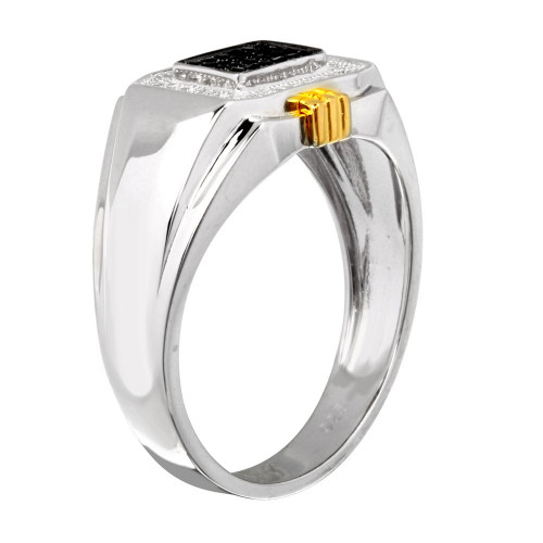 Wholesale Men's Sterling Silver 925 Two-Toned Rectangular Ring with CZ - GMR00221RG
