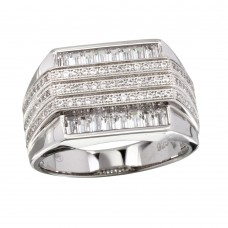 Men's Sterling Silver Rhodium Plated 3 Bar CZ Ring - GMR00222