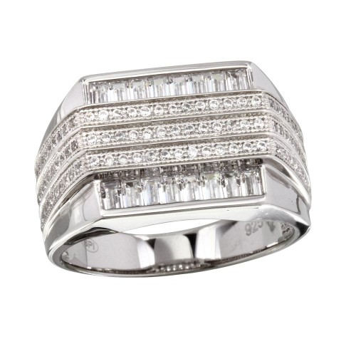 Wholesale Men's Sterling Silver 925 Rhodium Plated 3 Bar CZ Ring - GMR00222