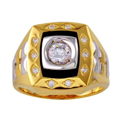 Wholesale Sterling Silver 925 Tri Color Square Ring with CZ - GMR00225GR