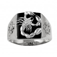 Wholesale Sterling Silver 925 Rhodium Plated Square Scorpion Ring with CZ - GMR00226RH