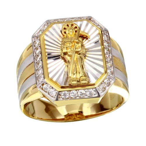 Wholesale Sterling Silver 925 Two-Toned Santa Muerte Ring with CZ - GMR00227GR