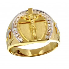 Men's Sterling Silver Gold Plated Crucifix Ring - GMR00229GR