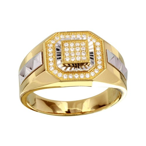 Wholesale Men's Sterling Silver 925 Two-Toned Square Ring with CZ - GMR00230GR
