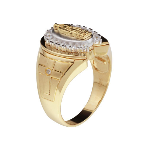 Wholesale Sterling Silver 925 Two-Toned Lady of Guadalupe Ring - GMR00231GR