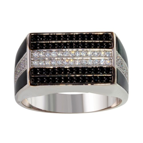 Wholesale Sterling Silver 925 Rhodium Plated Rectangle Ring with CZ - GMR00224RB