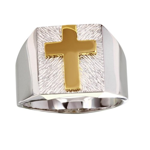 Wholesale Men's Sterling Silver 925 Two-Toned Cross Ring - GMR00232RG