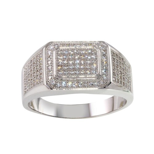 Wholesale Sterling Silver 925 Rhodium Plated Men's Ring with CZ - GMR00223