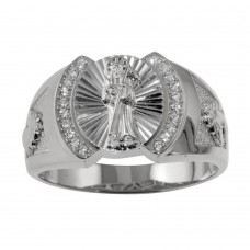 Wholesale Sterling Silver 925 Rhodium Plated Santa Muerte Ring with CZ - GMR00233RH