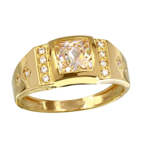 Wholesale Men's Sterling Silver 925 Gold Plated Square CZ Ring - GMR00234GP