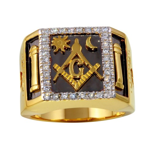 Wholesale Sterling Silver 925 Two-Toned Masonik Square Ring with CZ - GMR00235GR