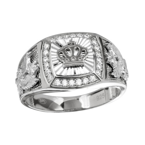 Wholesale Men's Sterling Silver 925 Gold Plated Crown Ring - GMR00236RH