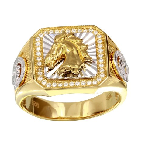 Wholesale Men's Sterling 925 Silver Two-Toned Horse Ring with CZ - GMR00239