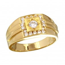 Wholesale Men's Sterling Silver 925 Gold Plated Square Ring with CZ - GMR00240