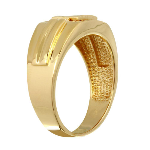 Wholesale Men's Sterling Silver 925 Gold Plated Square Ring with CZ - GMR00240GP