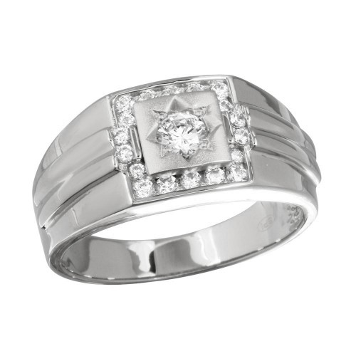 Wholesale Men's Sterling Silver 925 Rhodium Plated Square Ring with CZ - GMR00240