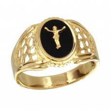 Men's Sterling Silver Gold Plated Flat Round Onyx Crucifix Ring - GMR00241