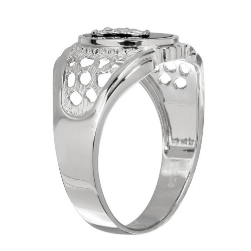 Wholesale Sterling Silver 925 Rhodium Plated Black Oval Body of Christ Ring - GMR00241