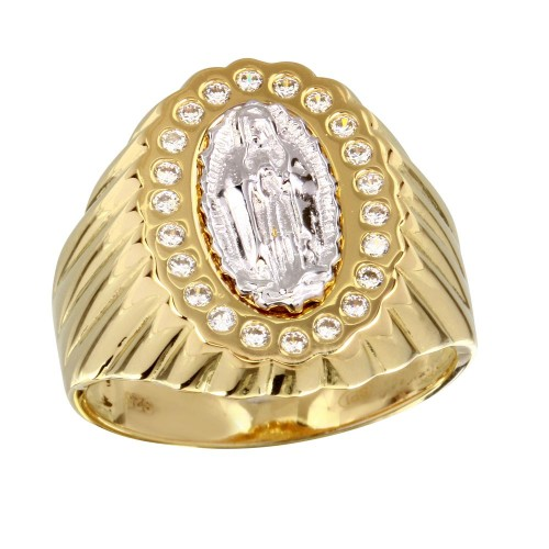 Wholesale Sterling Silver 925 Two-Toned Guadalupe Ring with CZ - GMR00242GR