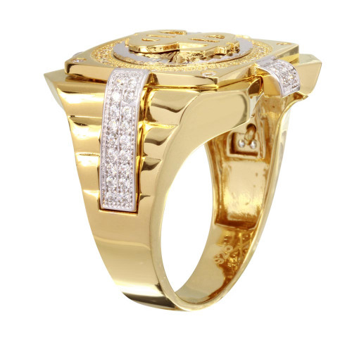 Wholesale Men's Sterling Silver 925 Two-Toned Dollar Sign Ring - GMR00244GR