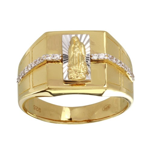 Wholesale Men's Sterling Silver 925 Two-Toned Lady of Guadalupe Ring with CZ - GMR00247GR