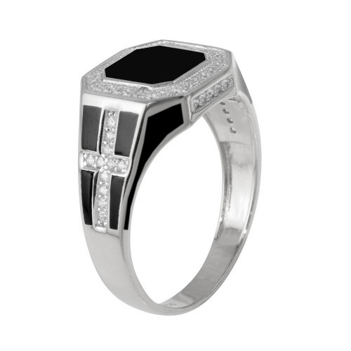 Wholesale Sterling Silver 925 Rhodium Plated Square Cross Ring with CZ - GMR00248RH