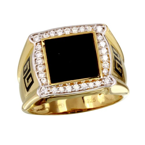 Wholesale Men's Sterling Silver 925 Gold Plated Flat Square Onyx Ring with CZ - GMR00249GR