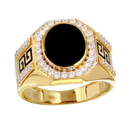 Wholesale Men's Sterling Silver 925 Gold Plated Flat Oval Onyx Ring with CZ - GMR00250GR