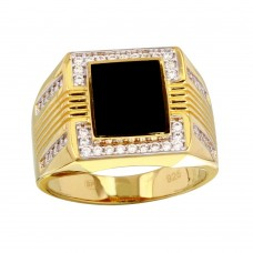 Men's Sterling Silver Gold Plated Square Flat Onyx Ring with CZ - GMR00252GR