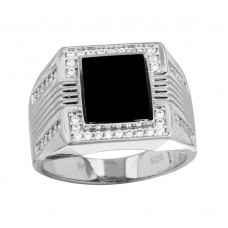 Wholesale Men's Sterling Silver 925 Rhodium Plated Square Flat Onyx Ring with CZ - GMR00252RH