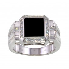 Wholesale Sterling Silver 925 Rhodium Plated Square Ring with CZ - GMR00253