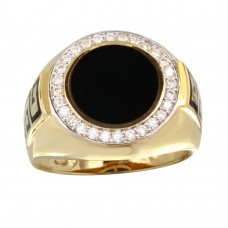 Men's Sterling Silver Gold Plated Round Flat Round Onyx Ring with CZ - GMR00254GR