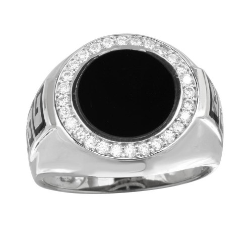 Wholesale Men's Sterling Silver 925 Rhodium Plated Round Flat Round Onyx Ring with CZ - GMR00254RH