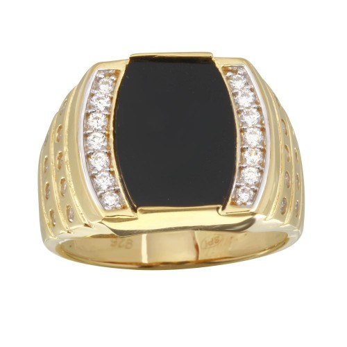 Wholesale Men's Sterling Silver 925 Gold Plated Flat Oval Onyx Ring with CZ - GMR00255GR