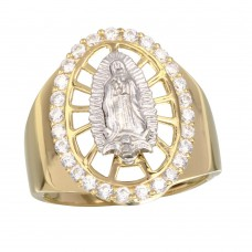 Sterling Silver Gold Plated Oval CZ Lady of Guadalupe Center Ring - GMR00256GR