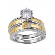 Wholesale Sterling Silver 925 Two-Toned His and Hers Ring Set with CZ - GMR00257RG