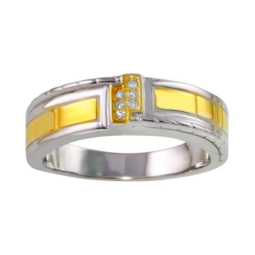 Wholesale Sterling Silver 925 Two-Toned Rings with CZ - GMR00258RG
