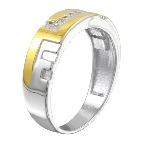 Wholesale Sterling Silver 925 Two-Toned Ring with CZ - GMR00259RG