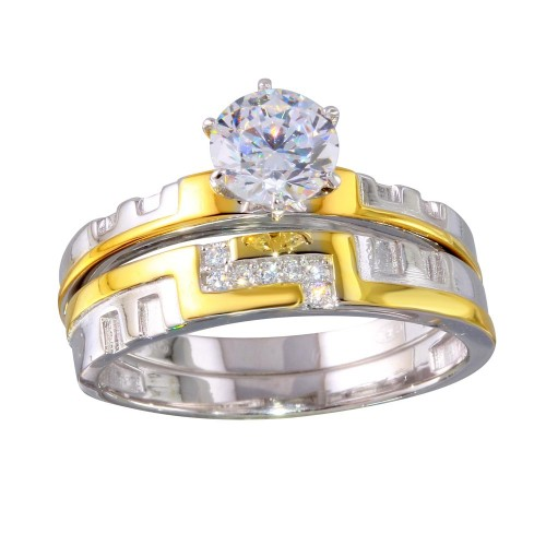 Wholesale Sterling Silver 925 Two-Toned Stackable CZ Double Rings - GMR00260RG