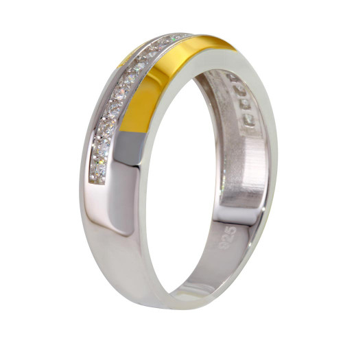 Wholesale Sterling Silver 925 Two-Toned Ring with CZ - GMR00261RG