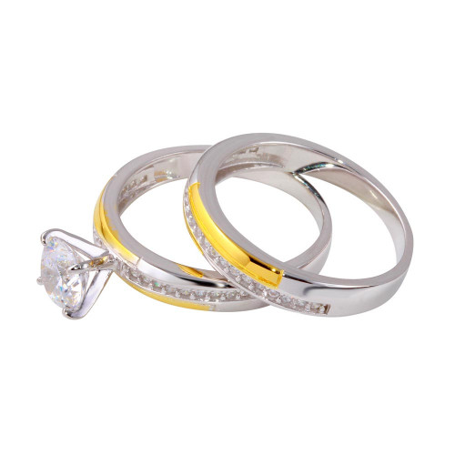 Wholesale Sterling Silver 925 Two-Toned Gold and Rhodium Plated Stackable Double Rings with CZ - GMR00262RG