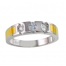 Wholesale Sterling Silver 925 Two-Toned Ring with CZ - GMR00263RG
