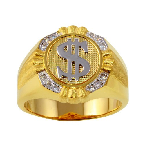 Wholesale Sterling Silver 925 Two-Toned Dollar Sign Ring with CZ - GMR00246GR