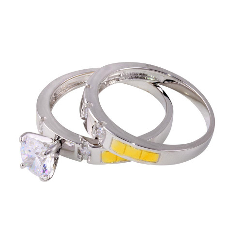 Wholesale Sterling Silver 925 Two-Toned Stackable CZ Double Ring - GMR00264RG