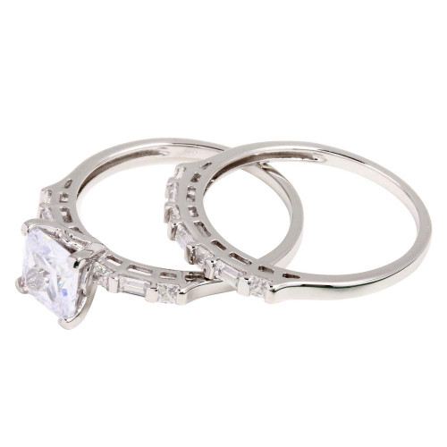 Wholesale Sterling Silver 925 Rhodium Plated Princess Cut Engagement Ring - GMR00265