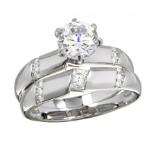 Wholesale Sterling Silver 925 Rhodium Plated Double Stackable Rings with CZ - GMR00266