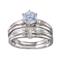 Wholesale Sterling Silver 925 Rhodium Plated Double Stackable Ring with CZ - GMR00267