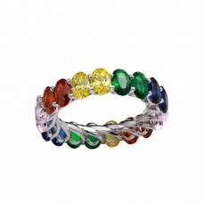 Wholesale Sterling Silver 925 Rhodium Plated Multi-Colored CZ Eternity Ring - GMR00268RBC